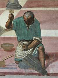Il Sodoma, Hoe Benedictus het bouwen van twaalf kloosters voltooit, detail van een steenbewerker