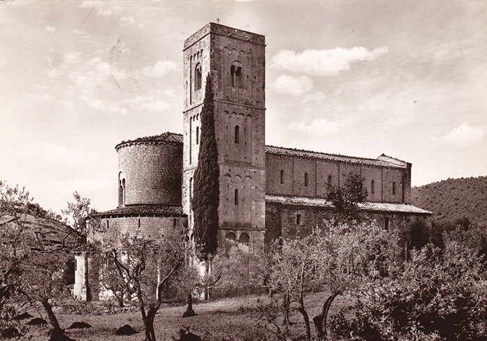 Old postcard of the Abbey of Sant'Antimo (1963)