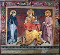 Sano di Pietro, Saint Peter Alessandrino between the Blessed Andrea Gallerani and Ambrogio Sansedoni, Palazzo Pubblico , Sala delle Lupe