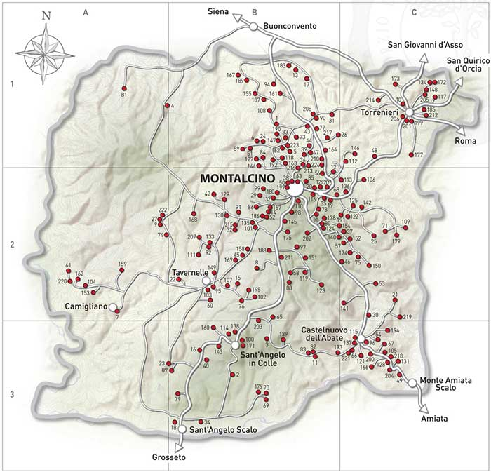 Map of the Brunello di Montalcino region | Member companies of the DOCG Brunello di Montalcino